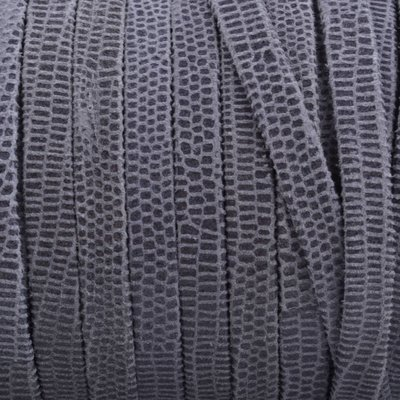 Grijs Plat nappa Leer Donker grijs snake 5x1.5mm - prijs per cm