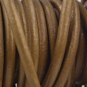 Goud Leer pale gold metallic 3mm - per meter