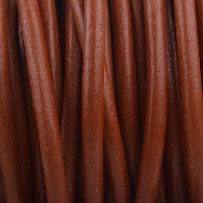 Bruin Leer rond rood bruin 3mm - per meter