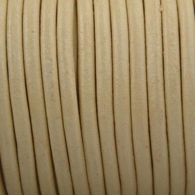 Bruin Leer rond beige geel 3mm - per meter