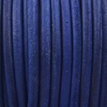Blauw Vintage rond leer Hollands blauw 3mm - prijs per meter