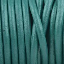 Turquoise Leer rond turquoise metallic 3mm - prijs per meter