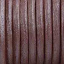 Roze Leer rond poeder roze metallic 3mm - prijs per meter