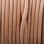 Bruin Leer rond naturel 3mm - prijs per meter
