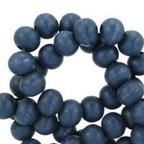 Blauw Houten kralen rond Royal blue 6mm - 50 stuks
