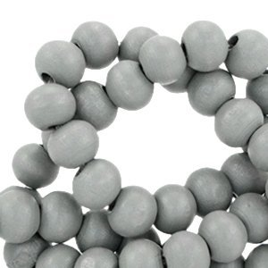 Grijs Houten kralen rond Donker grijs 6mm - 50 stuks