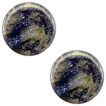 Blauw Platte cabochon polaris Stardust Midnight blue 12mm