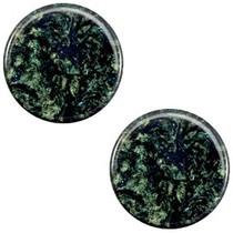 Groen Platte cabochon polaris Stardust Dark emerald blue zircon 12mm