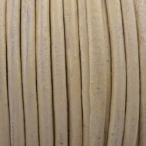 Wit Rond leer Off white 3mm - prijs per meter