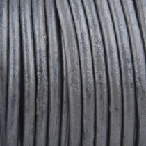 Grijs Rond leer Donker grijs metallic 3mm - prijs per meter