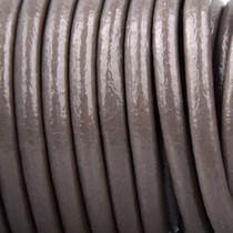 Grijs Rond leer Taupe grijs 3mm - prijs per meter