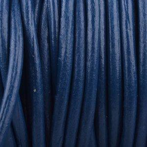 Blauw Rond leer Blauw 3mm - prijs per meter