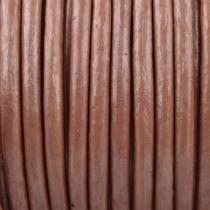 Roze Rond leer Rose brown metallic 3mm - prijs per meter