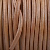 Bruin Rond leer Soft brown metallic 3mm - prijs per meter