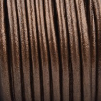 Bruin Rond leer Dark copper brown metallic 3mm - prijs per meter