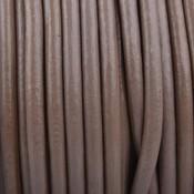 Bruin Rond leer Taupe brown 3mm - prijs per meter