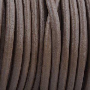 Bruin Rond leer Dark taupe brown 3mm - prijs per meter
