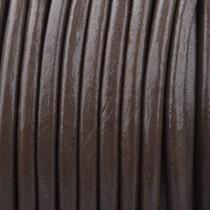 Bruin Rond leer Dark nature brown 3mm - prijs per meter