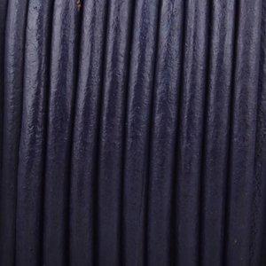 Blauw Rond leer Vintage Navy blue 3mm - prijs per meter