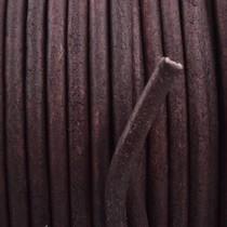 Bruin Rond leer Vintage Dark chocolate brown 3mm - prijs per meter