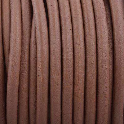 Bruin Rond leer Vintage Soft brown 3mm - prijs per meter