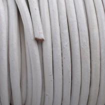 Wit Rond leer White 3mm - prijs per meter