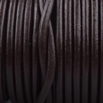 Bruin Rond leer Dark chocolate brown 3mm - prijs per meter