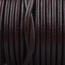 Bruin Rond leer Dark chocolate brown 3mm - prijs per meter