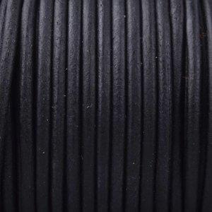 Zwart Rond leer Vintage zwart 3mm - prijs per meter