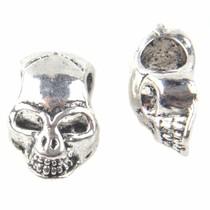 Zilver Kraal skull Ø4mm Zilver 12x8mm