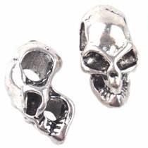 Zilver Kraal skull Ø4mm Zilver 17x9mm