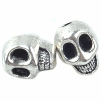 Zilver Kraal skull Ø2mm Zilver 12x10mm