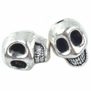 Zilver Kraal skull Ø2mm Zilver 12x10mm - 3stuks