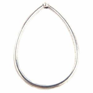 Zilver Druppel ring met een gat bovenin Zilver 44.5x33mm