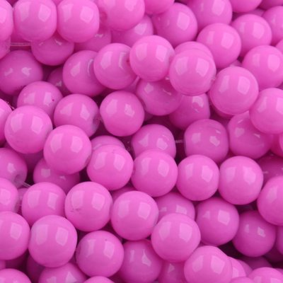 Roze Glaskraal shine fuchsia 6mm - 50st