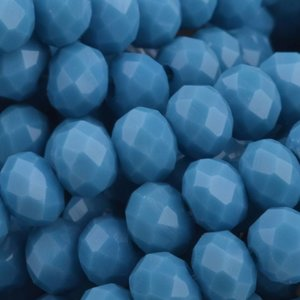 Blauw Facet rondel Grey blue opaque 6x4mm - 45 stuks