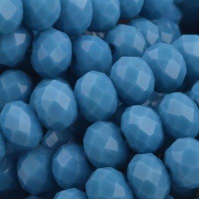 Blauw Facet rondel Grey blue opaque 6x4mm - 45 stuks