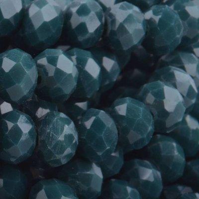 Groen Facet rondel Teal opaque 6x4mm - 45 stuks