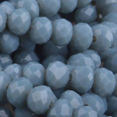 Grijs Facet rondel Light grey blue opaque 6x4mm - 45 stuks