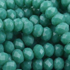 Turquoise Facet rondel Turquoise green opaque 6x4mm - 45 stuks