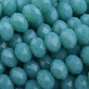 Turquoise Facet rondel Dark turquoise opaque 6x4mm - 45 stuks
