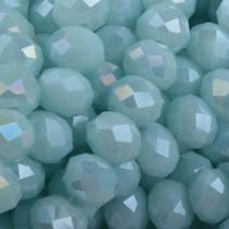 Turquoise Facet rondel Light turquoise AB 8x6mm - 35 stuks