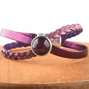 Paars DIY leer armband Cross & Shine Purple