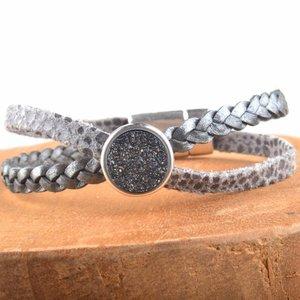 Grijs DIY leer armband Cross & Shine Dark Grey