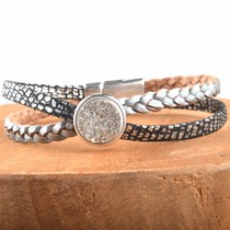 Zilver DIY leer armband Cross & Shine Silver