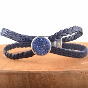 Blauw DIY leer armband Cross & Shine Dark blue