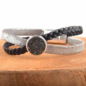 Zwart DIY leer armband Cross & Shine Black