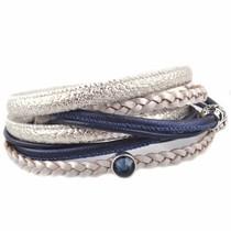 Wit DIY Dubbele wikkel armband Ice Blue
