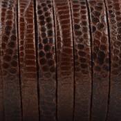 Bruin Plat nappa Leer Cognac bruin Snake 5x1.5mm - prijs per cm