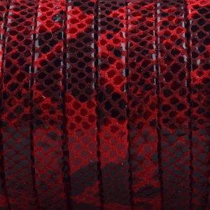 Rood Plat nappa Leer Zwart rood python 5x1.5mm - prijs per cm